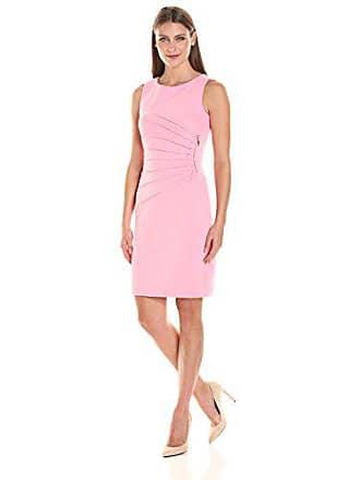 Ivanka Trump Womens Ponte Sleeveless Side Ruched Starburst Dress, Bubble Gum, 10