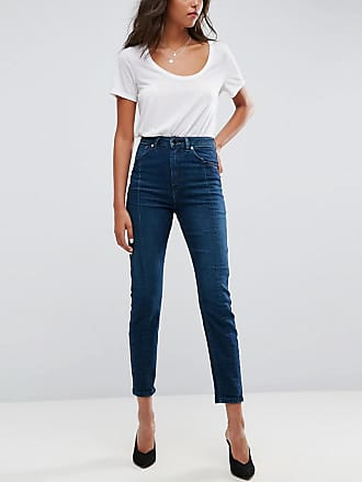 Asos Farleigh high waist Deconstructed slim mom jeans in belle green cast - Blue