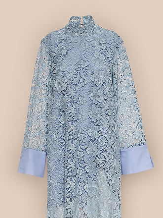 L'autre Chose KIMONO DRESS IN PIZZO MACRAMÈ AZZURRO