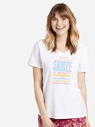 Life is good Womens Snooze Fest Grateful Bed Snuggle Up Sleep Vee XS Cloud White