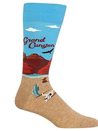 Hot Sox Mens Travel Series Novelty Crew, Grand Canyon (Light Blue), Shoe Size: 6-12 (Sock Size: 10-13)