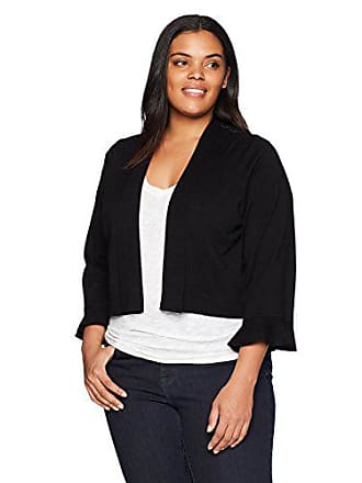 Calvin Klein Womens Plus Size Shrug with lace Back Panel, Black, 1X