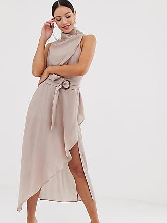 aa81132caf0f Asos Tall ASOS DESIGN Tall - Vestito midi testurizzato con scollo  drappeggiato e cintura da annodare