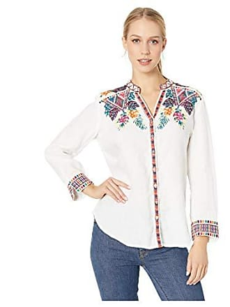 Johnny Was Womens Embroidered V-Neck Button Down Blouse, White, S