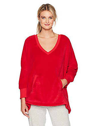 Hue Womens Solid Marshmallow V-Neck Poncho, Cupid, One Size