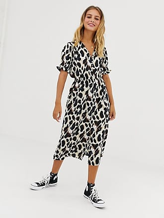 62ff6284b084 Influence shirred sleeve midi dress with button front in leopard print