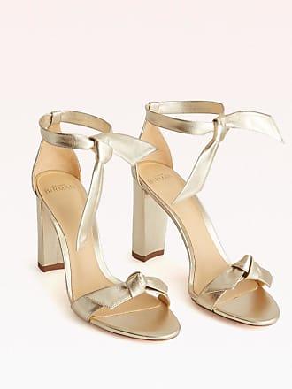 Alexandre Birman Clarita Block 90 Sandal - 35.5 Golden Metallic Leather