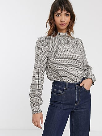 Warehouse houndstooth check blouse in neutral-Brown