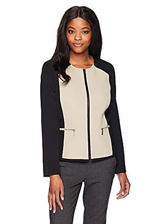 2ab62393d9c Kasper Womens Stretch Crepe Contrast Jacket with Zipper Detailing