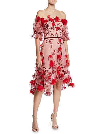 2bda863dcab Marchesa Off-the-Shoulder 3D Floral Embroidered Cocktail Dress