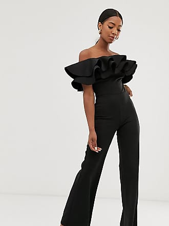 efe880786d True Violet exclusive exaggerated frill bandeau jumpsuit in black