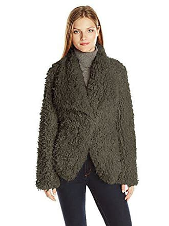 Betsey Johnson Womens Curly Lamb Faux Fur Lightweight Coat, Taupe, L