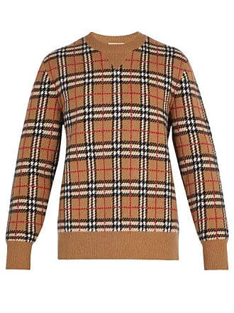 Burberry House Check Intarsia Cashmere Sweater - Mens - Camel