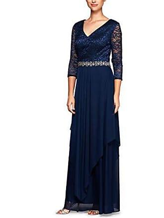 Alex Evenings Womens Long Lace Top Empire Waist Dress, Navy, 14