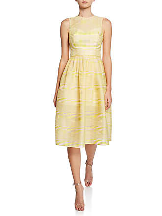 3735c0f63fbb Halston Heritage High-Neck Sleeveless Striped Organza Fit-and-Flare Dress