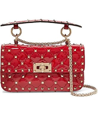 27fe0e13dc Valentino Valentino Garavani The Rockstud Spike Small Quilted Patent-leather  Shoulder Bag - Red
