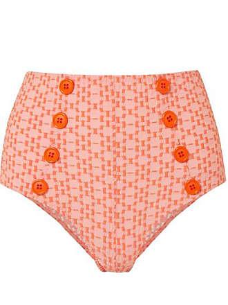 8aeb1ba7aa821 Lisa Marie Fernandez Genevieve Seersucker Bikini Briefs - Orange