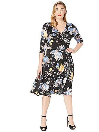 Unique Vintage Plus Size Floral Wrap Dress (Black/Blue Floral) Womens Dress