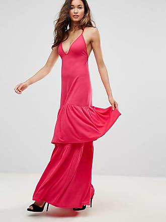 fba5a05326 Club L Club L Plunge Neck Ruffle Layer Detail Maxi Dress