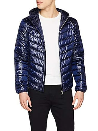 92d510fe Guess Hooded Superlight PU Chaqueta Bomber, Azul (Blue Navy G720), X-