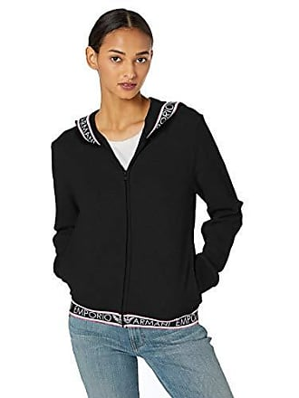 Emporio Armani Womens Stretch Cotton Full Zip Jacket and Hood, Black, Small