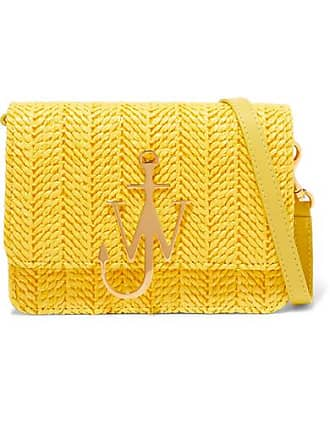 J.W.Anderson Logo Mini Raffia And Leather Shoulder Bag - Yellow