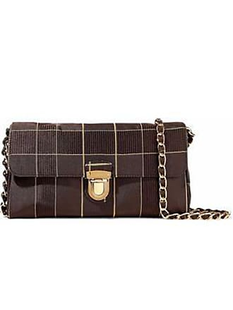 c54733ee8bdee0 Prada Prada Unisex Checked Satin Shoulder Bag Dark Brown Size
