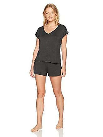 Maidenform Womens Organic Architecture Dolman Shirt Short Set, Heather Charcoal, Large