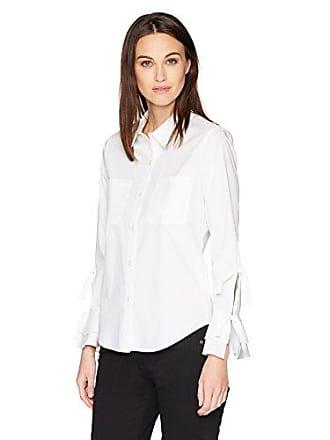 Calvin Klein Womens Button Front Tie Sleeve Blouse, Soft White, S