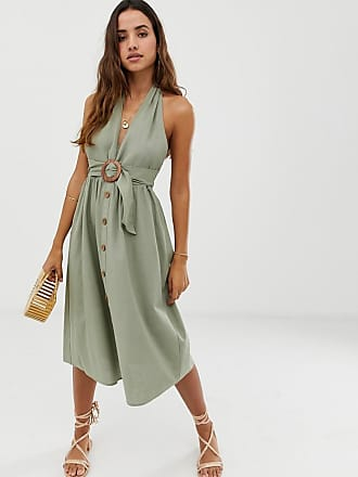 2dc6946893a2 Asos halter neck midi button through linen sundress with buckle - Green