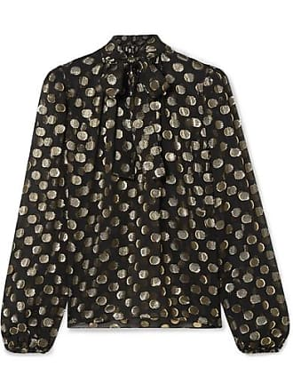 010c3569 Dolce & Gabbana Polka-dot Metallic Fil Coupé Silk-blend Chiffon Blouse -  Black