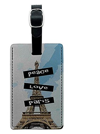 Graphics & More Graphics & More Peace Love Paris Leather Luggage Id Tag Suitcase Carry-on, Black