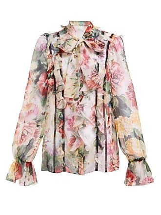 4e86f87cc88746 Dolce & Gabbana Floral Print Tie Neck Silk Blend Chiffon Blouse - Womens -  White Multi