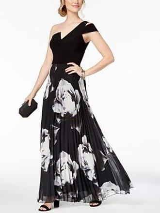 6d5623d18d4b Betsy & Adam Womens Long one Shoulder Printed Chiffon Dress, Black/White,  ...