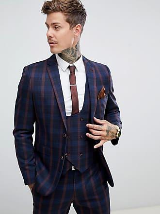 Harry Brown Marinblå och vinröd rutig kavaj med smal passform - Marinblå e579d1c409931
