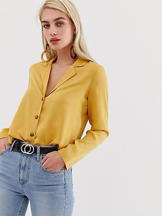 Vero Moda button through blouse in yellow - Gold