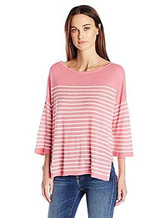 NYDJ Womens Serra Sweater, Natural/Bisou Pink, X-Small