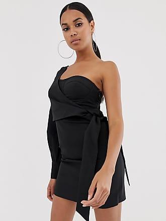 4th & Reckless one shoulder wrap tie mini dress in black