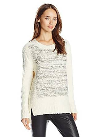 J.O.A. JOA Womens Boucle Sweater with Contrast Color, Ivory, Medium