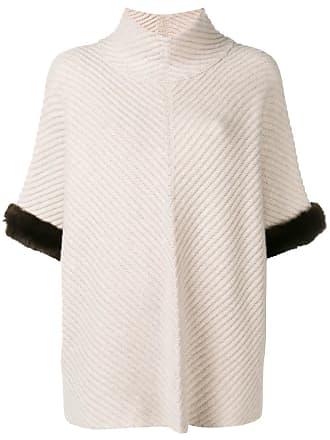 N.Peal fur trim knit poncho - Neutrals