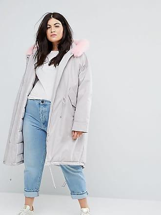 Asos Curve Parka extragrande con capucha con piel sintética rosa de ASOS  CURVE 564f5060ebfa