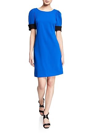 Iconic American Designer Contrast Puff Sleeve Sheath Dress w/ Cufflinks