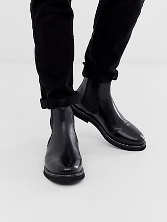 51507497d607 Asos chelsea boots in black leather with chunky sole