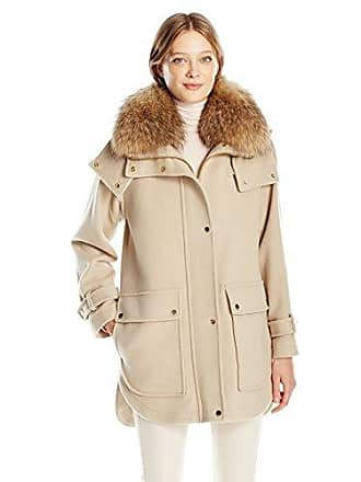 Trina Turk Womens Peyton Wool Blend Coat with Natural Racoon Fur, Sand, 4