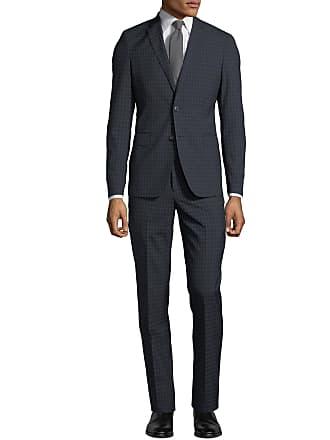 Neiman Marcus Mens Windowpane Wool-Twill Two-Piece Suit, Black/Blue