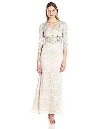 813d7ea1897f Alex Evenings Womens V-Neck Lace Evening Gown with Beaded Waist Dress,  Cream,