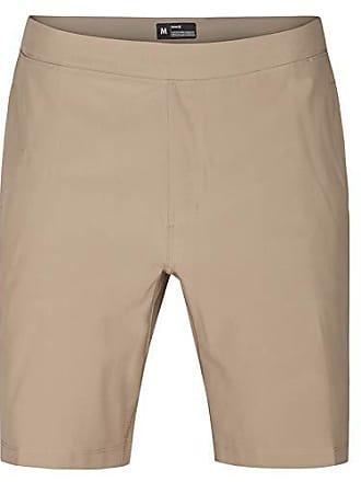 Hurley Mens Elastic Waist 20 inch Alpha Trainer Short, Khaki Black, XL