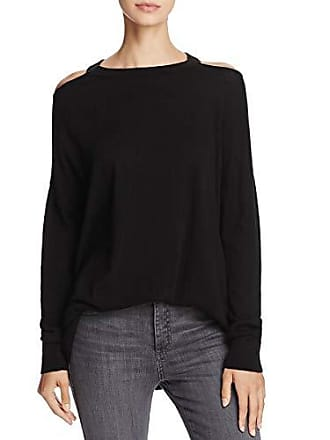 Splendid Womens Cut Out Cold Shoulder Long Sleeve Sweater, Black, Medium