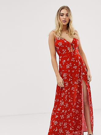 89d092fb9e5a Missguided Vestito lungo con spalline sottili e spacco profondo a fiori -  Multicolore