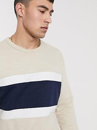 Hollister Sweatshirt in Hellbraun/Marine mit kleinem Logo, Rundhalsausschnitt und Streifendesign auf der Brust